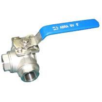 Кран шаровой трехходовой резьбовой с ISO-фланцем ABRA BV15-L Ру40 Ду50 (PN40 DN50)