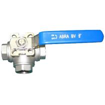 Кран шаровой трехходовой резьбовой с ISO-фланцем ABRA BV15-T Ру40 Ду40 (PN40 DN40)