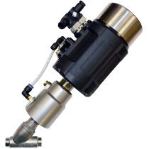 Клапан пневматический с позиционером из нержавеющей стали под сварку АСТА-Р12-065-82,6Л-М-16-04-200-С/ППП-90 (НЗ)-ИЭП DN65 PN16