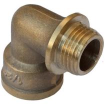 Угольник латунный Ру16 Ду20 (PN16 DN20) муфта-штуцер