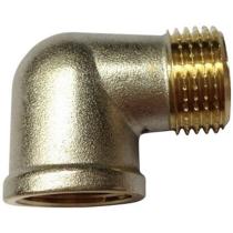 Угольник латунный никелированный Ру16 Ду15 (PN16 DN15) муфта-штуцер