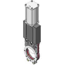 Задвижка шиберная из нержавеющей стали межфланцевая с пневмоприводом СМО UB-021-02-0200--SsM-D/A-E ( PN10 DN200)