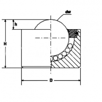 Шариковая опора (без фланца) SP 15 B M16X15 TECHNIX