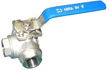 Кран шаровой трехходовой резьбовой с ISO-фланцем ABRA BV15-L PN40 DN80