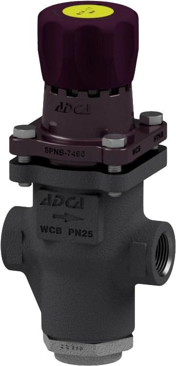 Клапан редукционный прямого действия из стали резьбовой ADCA PRW25/2S P3,5-8,6 DN3/4 PN25