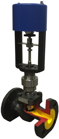 Клапан регулирующий из чугуна с электроприводом АСТА-Р11-040-25Л-СТ-16-01-220-Ф/ЭПР-1,0кН-220В 1,0кН DN40 PN16