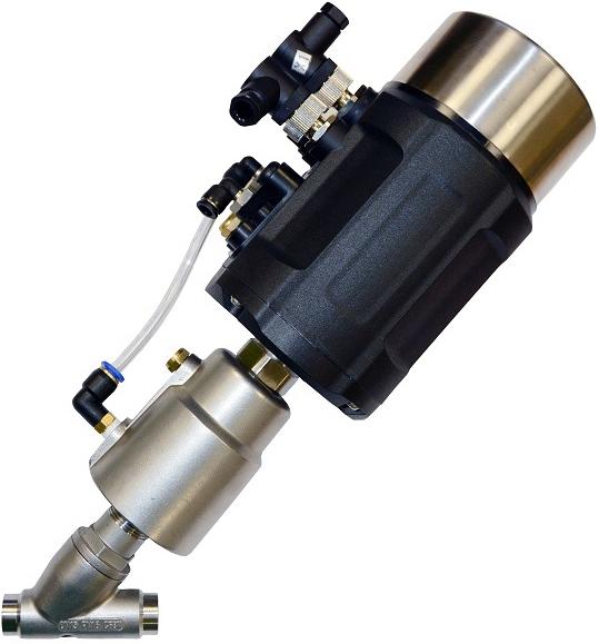 Клапан пневматический с позиционером АСТА-Р12-065-82,6Л-М-16-04-200-С/ППП-90 (НЗ)-ИЭП из нержавеющей стали под сварку DN65 PN16