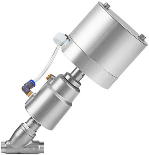 Клапан пневматический с позиционером АСТА-Р12-100-143Л-М-16-04-200-С/ППП-125 (НЗ)-ЭП из нержавеющей стали под сварку DN100 PN16