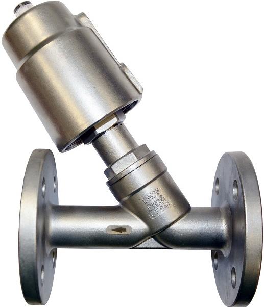 Клапан пневматический из нержавеющей стали АСТА-Р12-065-82,6O-M-16-04-200-Ф/ПП90 (НЗ) фланцевый DN65 PN16