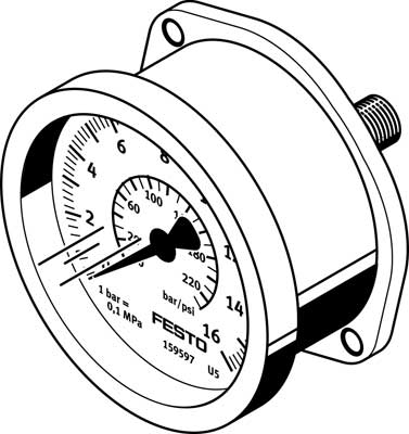 Фланцевый манометр Festo FMA-40-10-1/4-EN