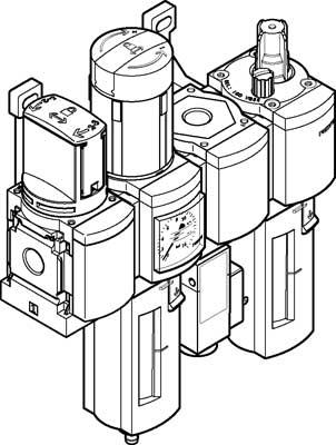 Блок подготовки воздуха, комбинация Festo MSB4-1/4:C3J1F3M1-WP