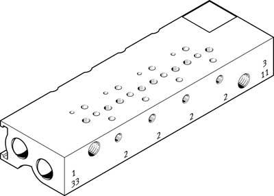 Плита для блочного монтажа Festo MHA1-PR8-3-M3-PI-PCB