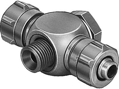 Тройник ниппельный с резьбой и накидной гайкой Festo TCK-M5-PK-3 (комплект 10 шт)