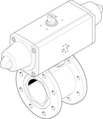 Шаровой кран с приводом Festo 1915409 VZBC-80-FF-16-22-F07-V4V4T-PS180-R-90-4-C