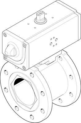 Шаровой кран с приводом Festo VZBC-80-FF-16-22-F07-V4V4T-PP180-R-90-C DN80 PN16