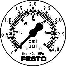 Прецизионный фланцевый манометр Festo FMAP-63-4-1/4-EN