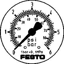 Прецизионный фланцевый манометр Festo FMAP-63-6-1/4-EN
