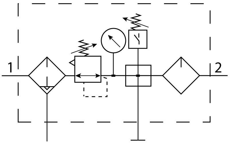 Блок подготовки воздуха Festo 185812 FRC-1/2-D-MIDI-KB-A пневмосхема