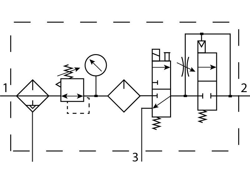 Блок подготовки воздуха Festo 185836 FRC-1/2-D-MIDI-KE-A пневмосхема