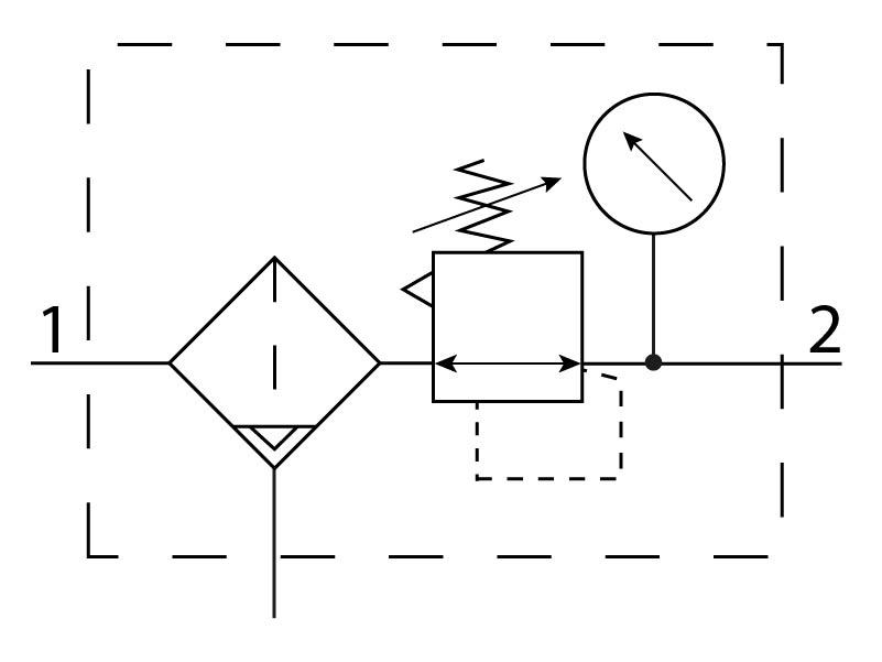 Фильтр-регулятор давления Festo 194730 LFRS-3/8-D-5M-MINI-A пневмосхема