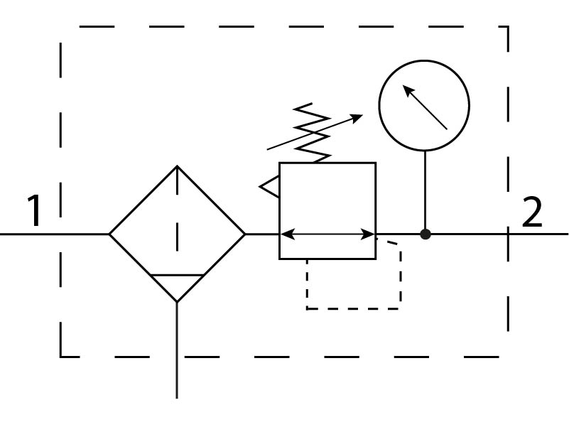 Фильтр-регулятор давления Festo 194760 LFRS-1/2-D-7-MIDI пневмосхема