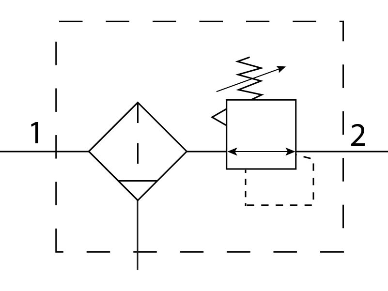 Фильтр-регулятор давления Festo 194725 LFRS-3/8-D-7-O-MINI пневмосхема
