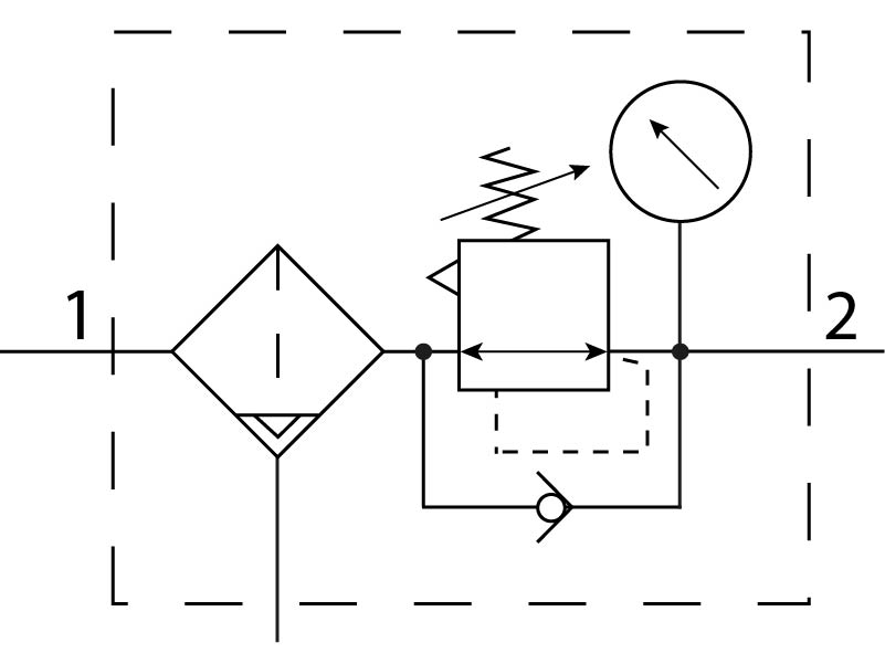Фильтр-регулятор давления Festo 529174 MS4-LFR-1/8-D7-ERV-AS пневмосхема