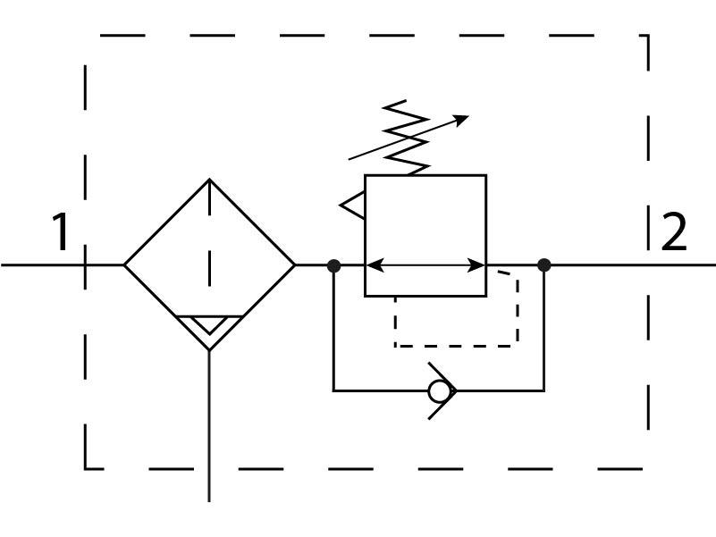 Фильтр-регулятор давления Festo 194841 LFRS-3/4-D-O-DI-MAXI-A пневмосхема