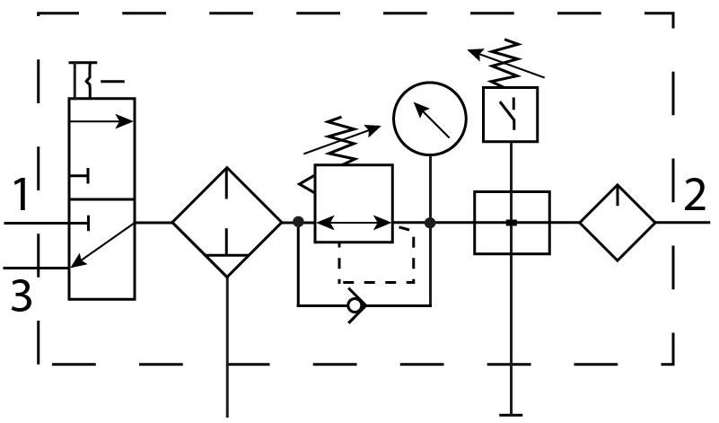 Блок подготовки воздуха Festo 185825 FRC-3/4-D-MAXI-KC пневмосхема