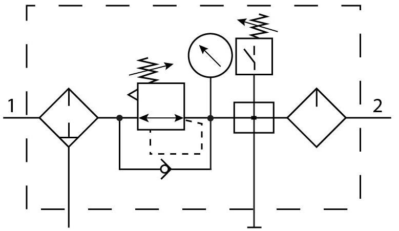 Блок подготовки воздуха Festo 185813 FRC-3/4-D-MAXI-KB пневмосхема