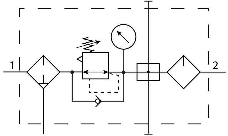 Комбинация блоков подготовки воздуха Festo 8002800 FRC-1/4-DB-7-MINI-KA пневмосхема