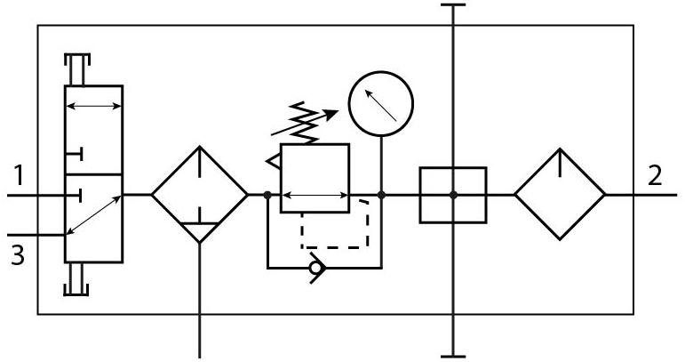 Комбинация блоков подготовки воздуха Festo 8002801 FRC-1/4-DB-7-MINI-KC пневмосхема