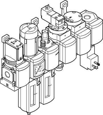 Блок подготовки воздуха, комбинация Festo MSB4N-1/4:C3J1M1D7A1F3-WP