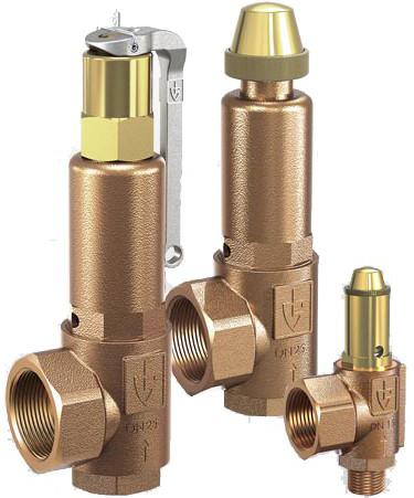 Клапан предохранительный латунный резьбовой Goetze 851-sGFK-DN15-f/f-15/15-PTFE-Kohle