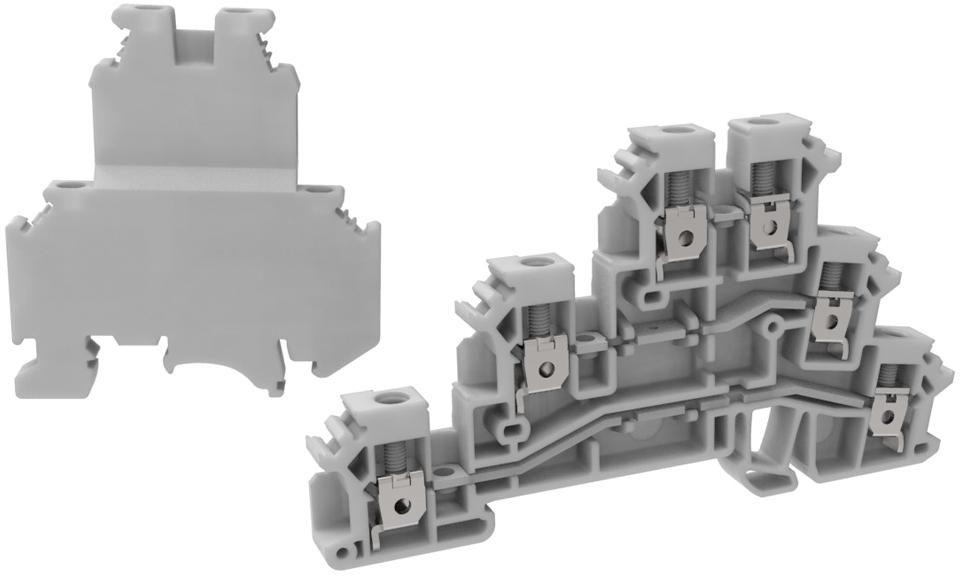 Клемма винтовая многоуровневая MEYERTEC MTU-TR2.5 (комплект 10 шт)