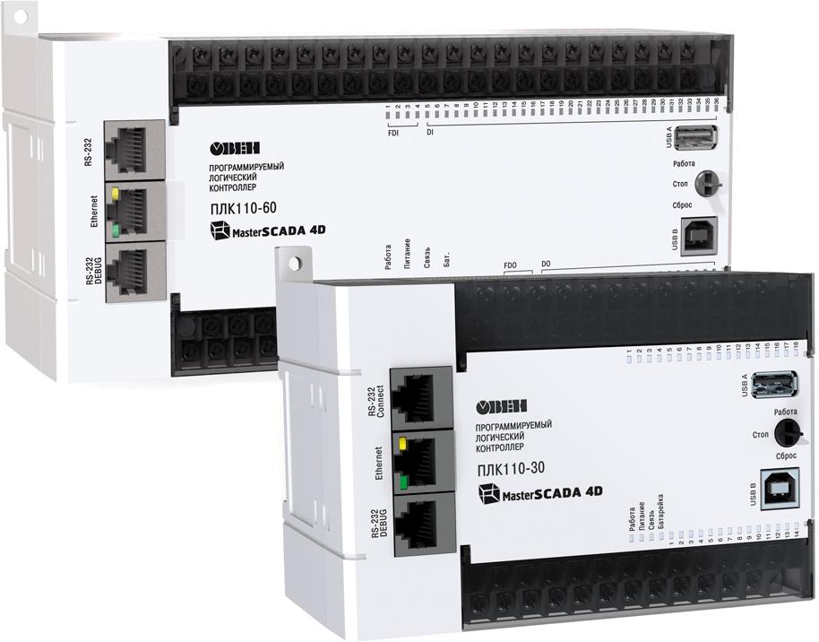 Контроллер c исполнительной средой MasterSCADA 4D ОВЕН ПЛК110-24.60.К-МS4-10