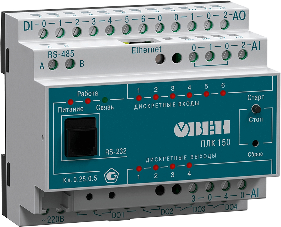 Контроллер для малых систем автоматизации ОВЕН ПЛК150-220.А-М