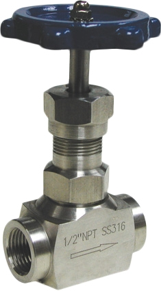 Клапан запорный игольчатый резьбовой из нержавеющей стали Genebre 2223-02 PN220 DN8