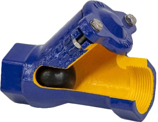 Клапан обратный шаровой чугунный фланцевый ZETKAMA 401D-050-C55 PN16 DN50