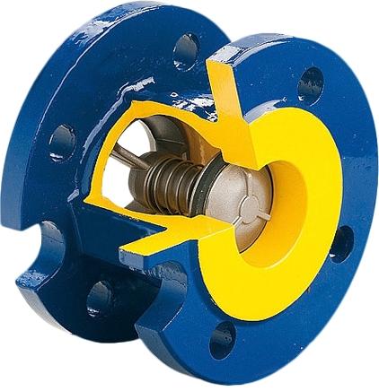 Клапан обратный пружинный чугунный фланцевый ZETKAMA 402А-065-С52 DN65