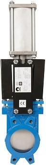 Задвижка шиберная стальная межфланцевая с пневмоприводом СМО A-03-D/A-E-DN1200-PN2