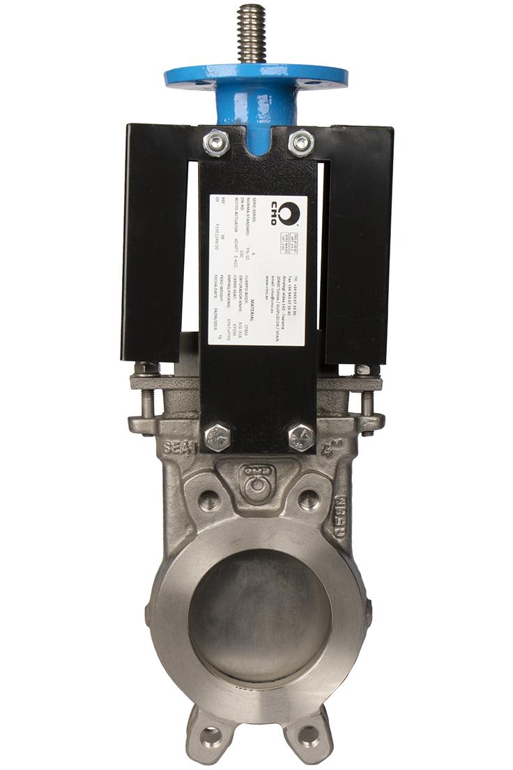 Задвижка шиберная нержавеющая сталь межфланцевая с ISO-фланцем СМО A-02-ISO-M-DN300-PN6
