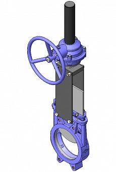 Задвижка шиберная стальная межфланцевая с редуктором СМО A-03-R-E-DN1200-PN2
