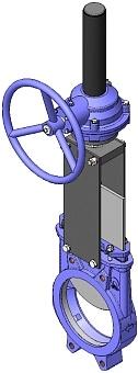 Задвижка шиберная чугунная межфланцевая с редуктором СМО A-01-R-E-DN450-PN5