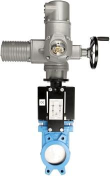 Задвижка шиберная чугунная межфланцевая с электроприводом AUMA SA 380В СМО A-01-AUMA-E-DN900-PN2