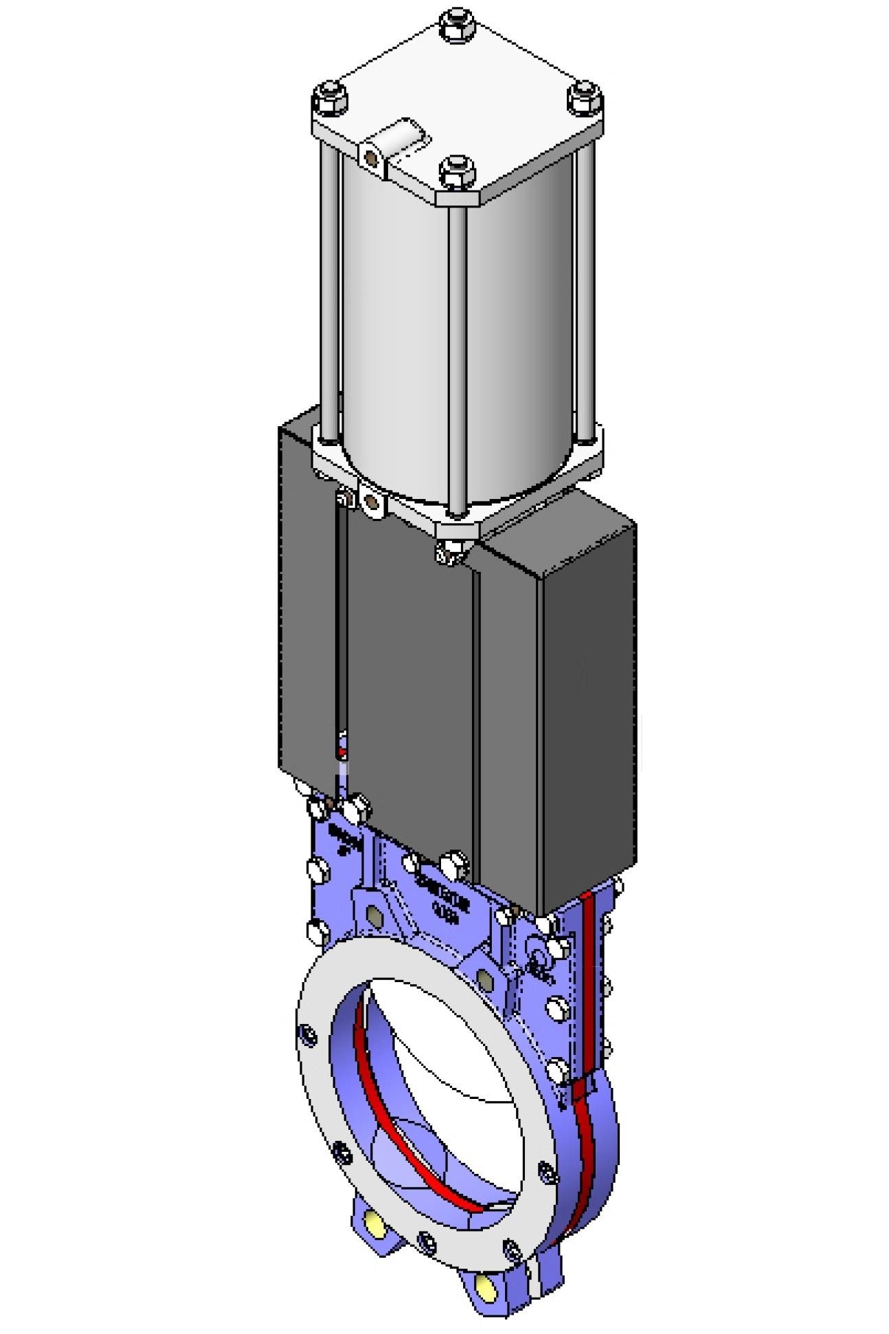 Задвижка шиберная чугунная межфланцевая с пневмоприводом СМО UB-012-01-1000-PN3-SsM-D/A-E