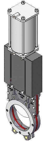 Задвижка шиберная из нержавеющей стали межфланцевая с пневмоприводом СМО UB-02-0600-PN6-D/A-E