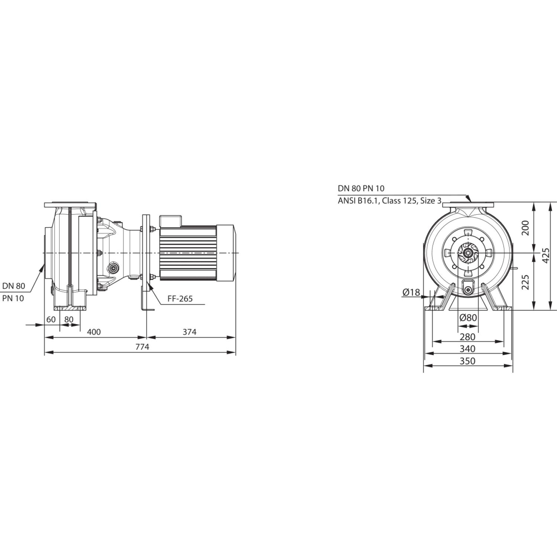 Насос для отвода сточных вод блочной конструкции со встроенным стандартным электродвигателем фекальный насос Wilo RexaBloc RE 08.52W230DAH132S4