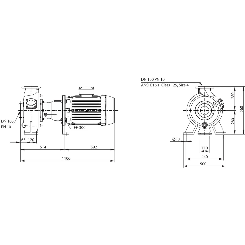 Насос для отвода сточных вод блочной конструкции со встроенным стандартным электродвигателем фекальный насос Wilo RexaBloc RE 10.44W290DAH180L4