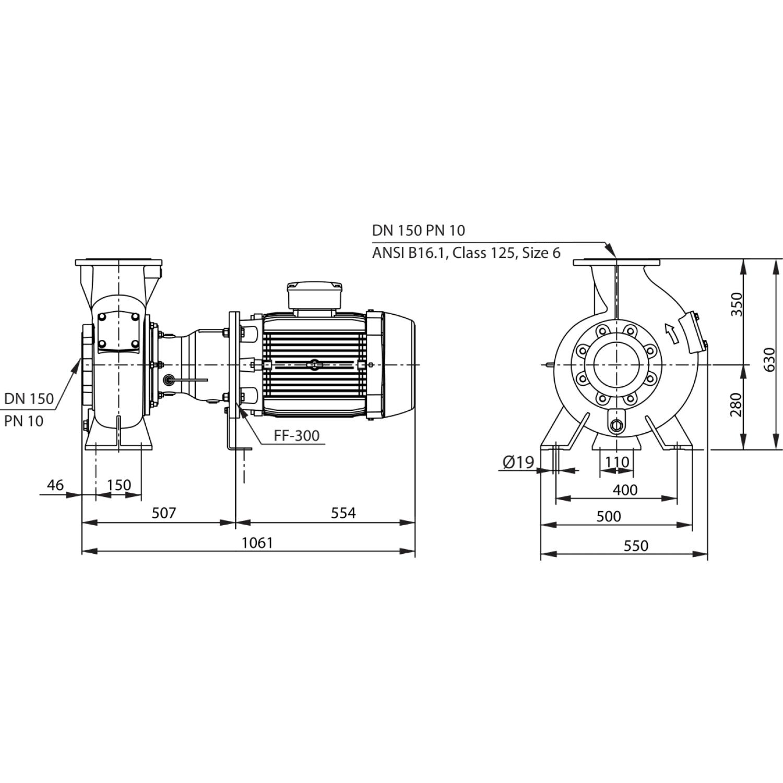 Насос для отвода сточных вод блочной конструкции со встроенным стандартным электродвигателем фекальный насос Wilo RexaBloc RE 15.84D245DAH180M4